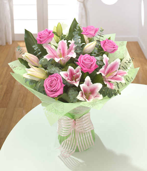 Rose & Lily Classic Bouquet - Flowers aRe Us Belfast | Florist ...